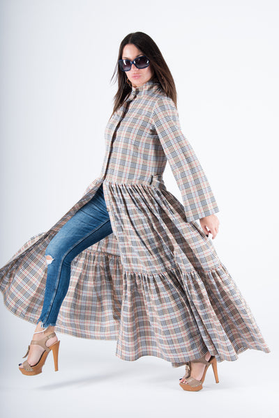 Beige Plaid Long Caftan, Abaya Maxi Dress, Long Summer Elegant Kaftan