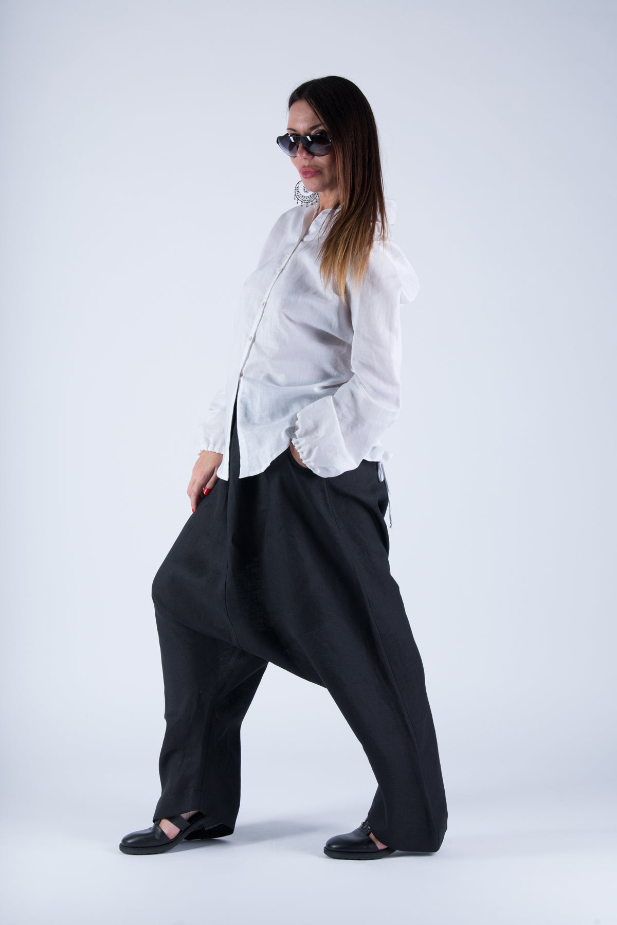 Black Linen Harem Pants with suspenders, Linen Clothing