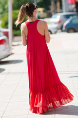 Red Cotton Plus Size Maxi Dress, Dresses Spring & Summer
