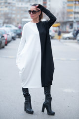 Black & White Cotton Tunic, Dresses & Maxi Dresses