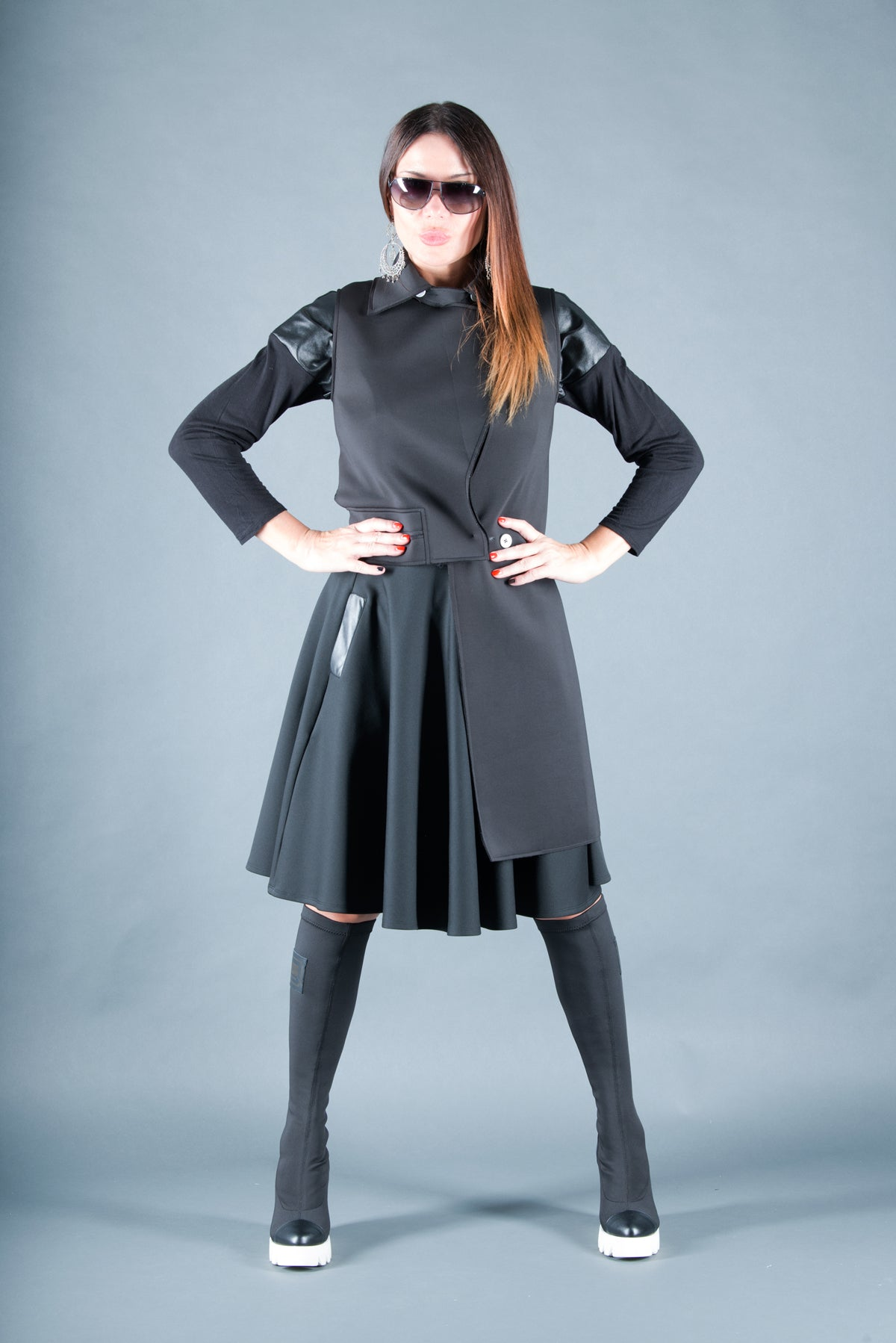 Black Neoprene knee length Skirt