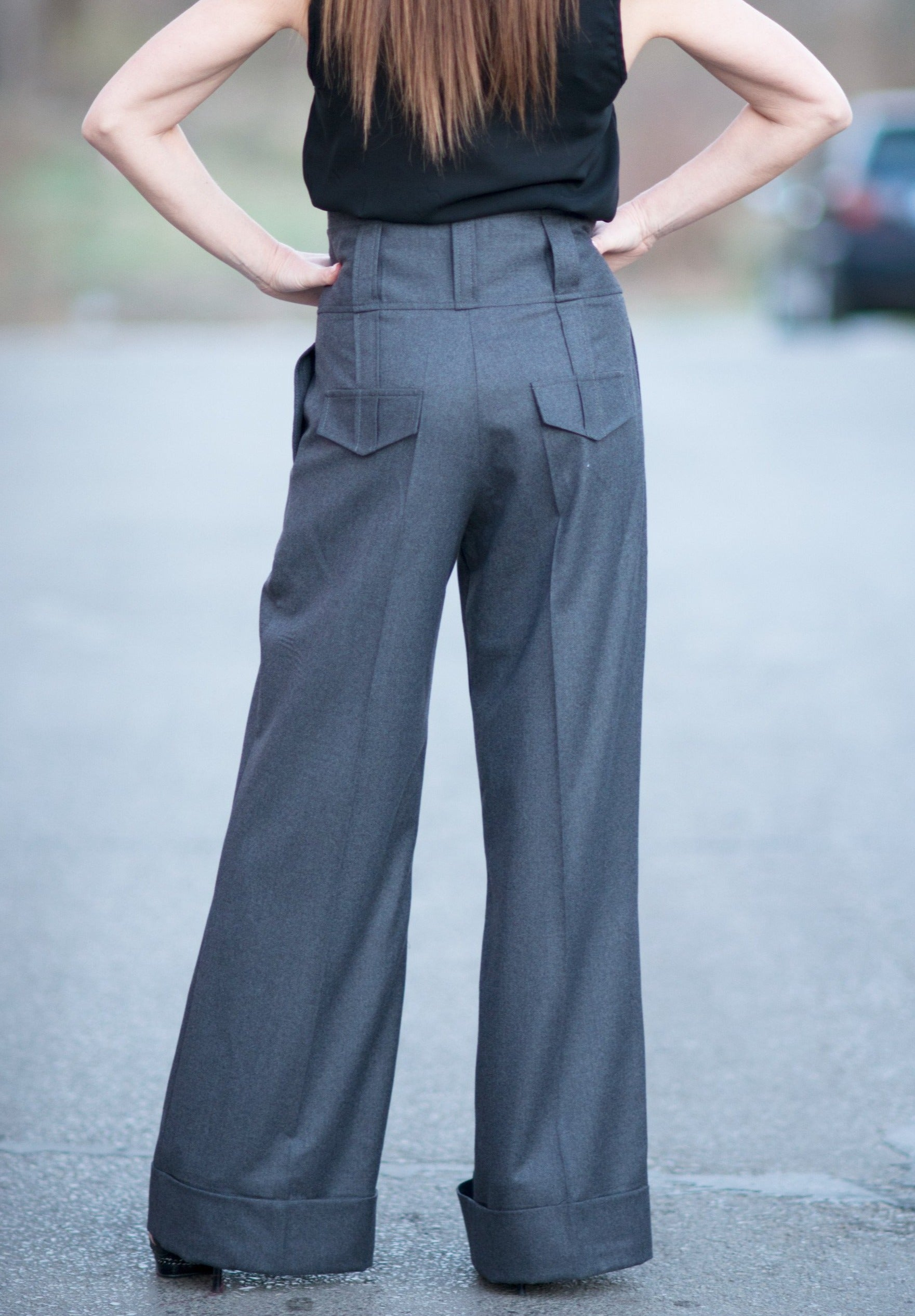 Cold Wool wide Pants, Grey Loose Wide Pants, Elegant Black Trousers