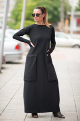 Black and White Cotton Dress With Big Zipper Pockets, Dresses & Maxi Dresses