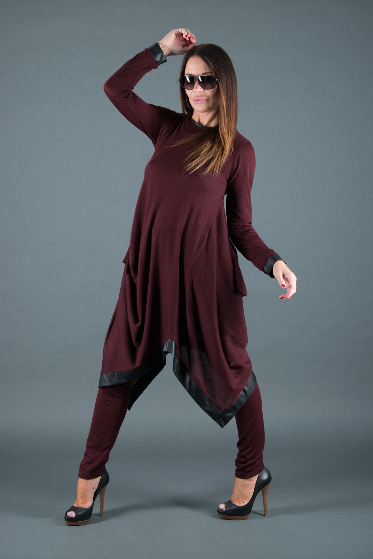 Dark Red Two pieces set, Knitting Tunic with leggings, Elegant & Sport Sets
