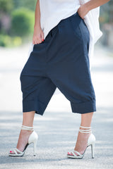 Knee length Linen Pants, Drop Crotch Linen Pants