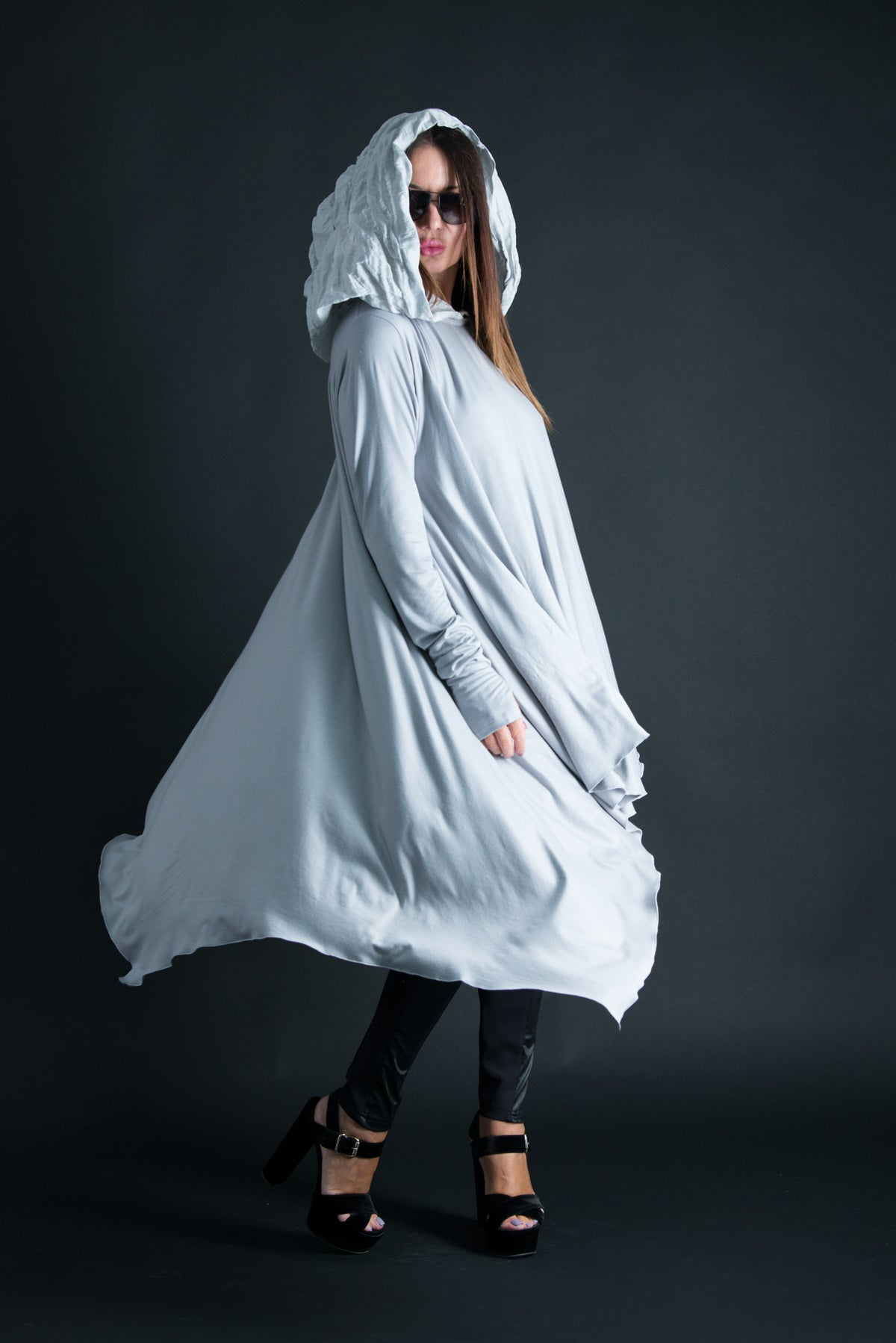 Hooded Light Grey Tunic, Long Sleeve Plus size Summer Top