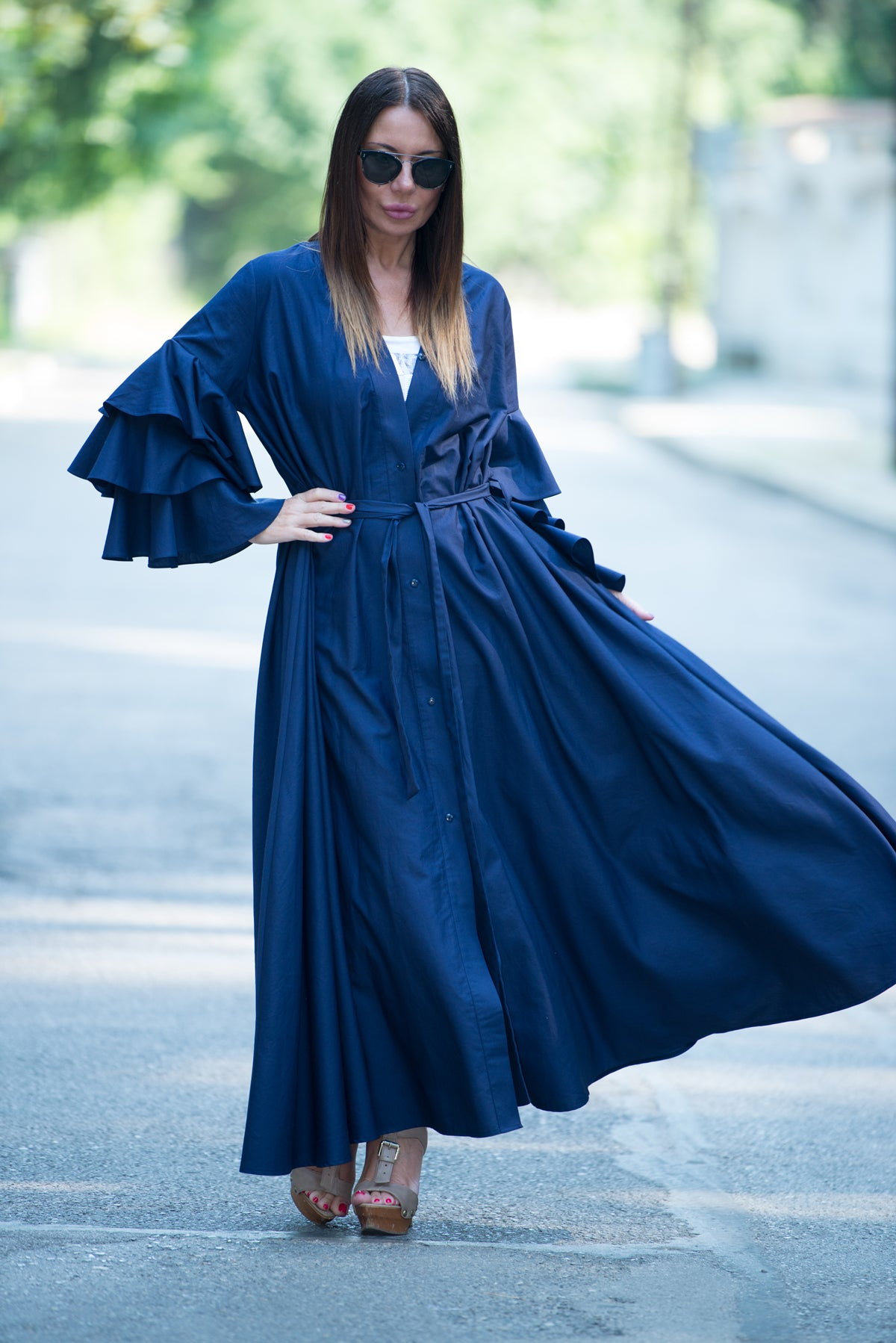 Navy Blue Cotton Abaya Loose Maxi Dress, Flounces Sleeves Elegant Kaftan