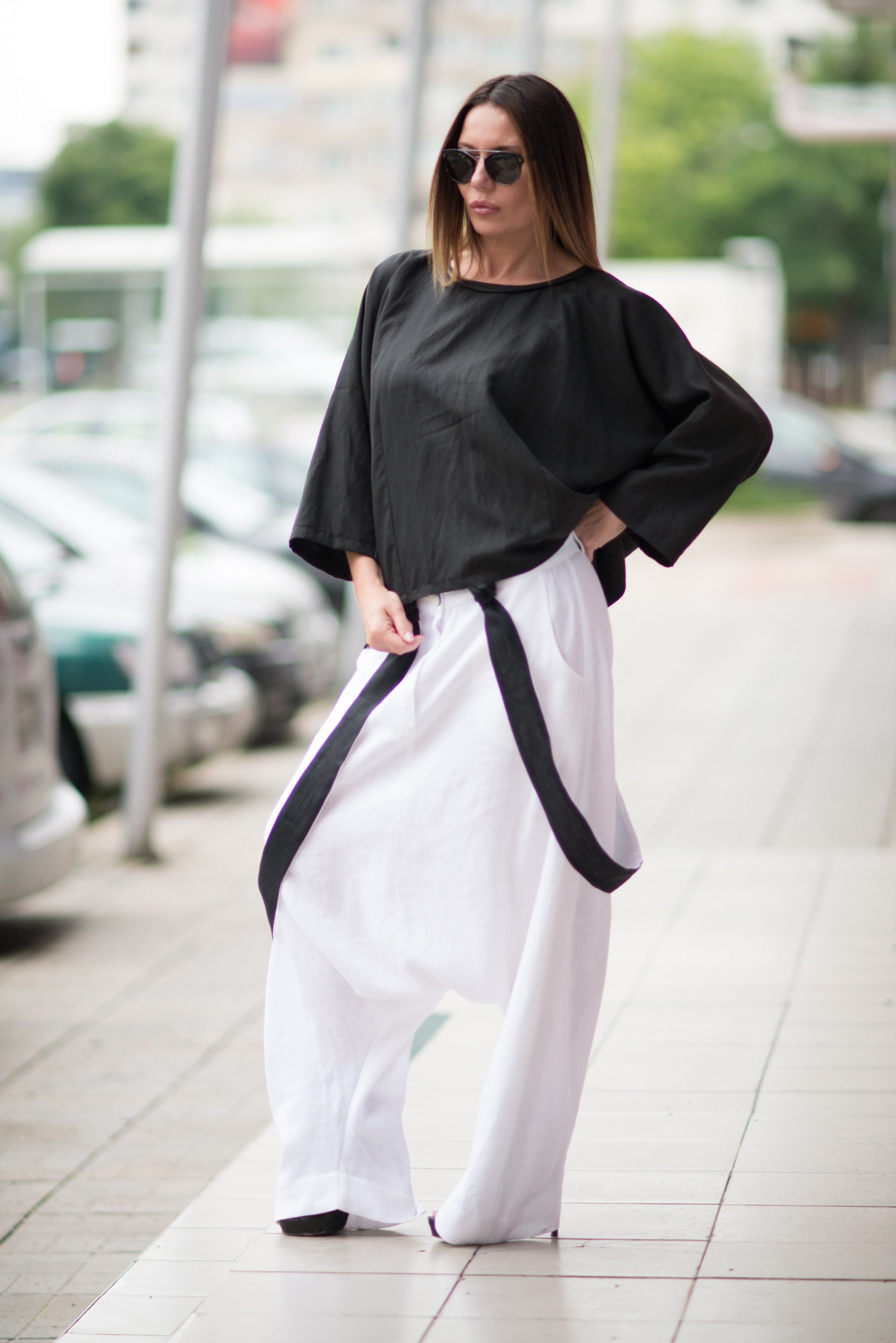 White Loose Linen Harem Pants with suspenders, Loose fit Trousers