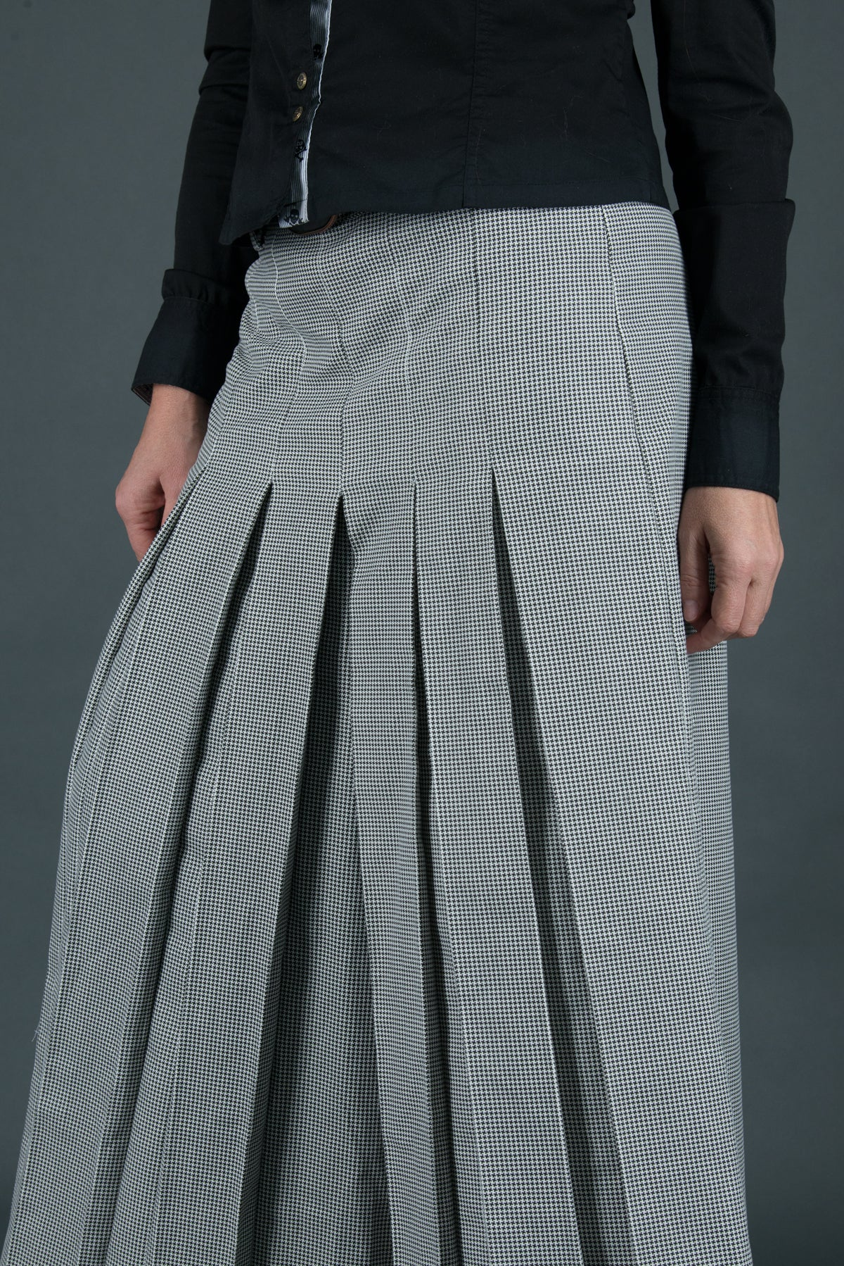 Shepherd's Plaid Wide Cotton Skirt Pants, Pants & Leggings