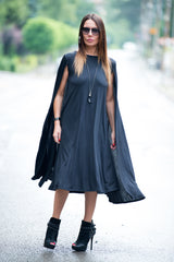 Navy Blue Sleeveless Summer Maxi Dress