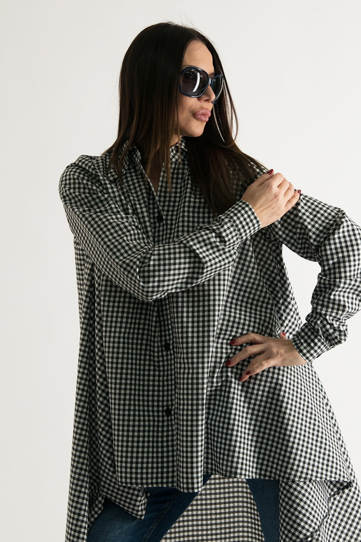 Summer Plaid Cotton Maxi Printed Shirt, Tops & Tunics