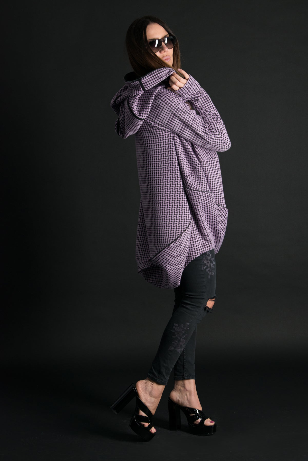 Purple Plaid Plus size Maxi Hooded Tunic, Tops & Tunics