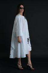 White Maxi Cotton Dress with print, Dresses Spring & Summer