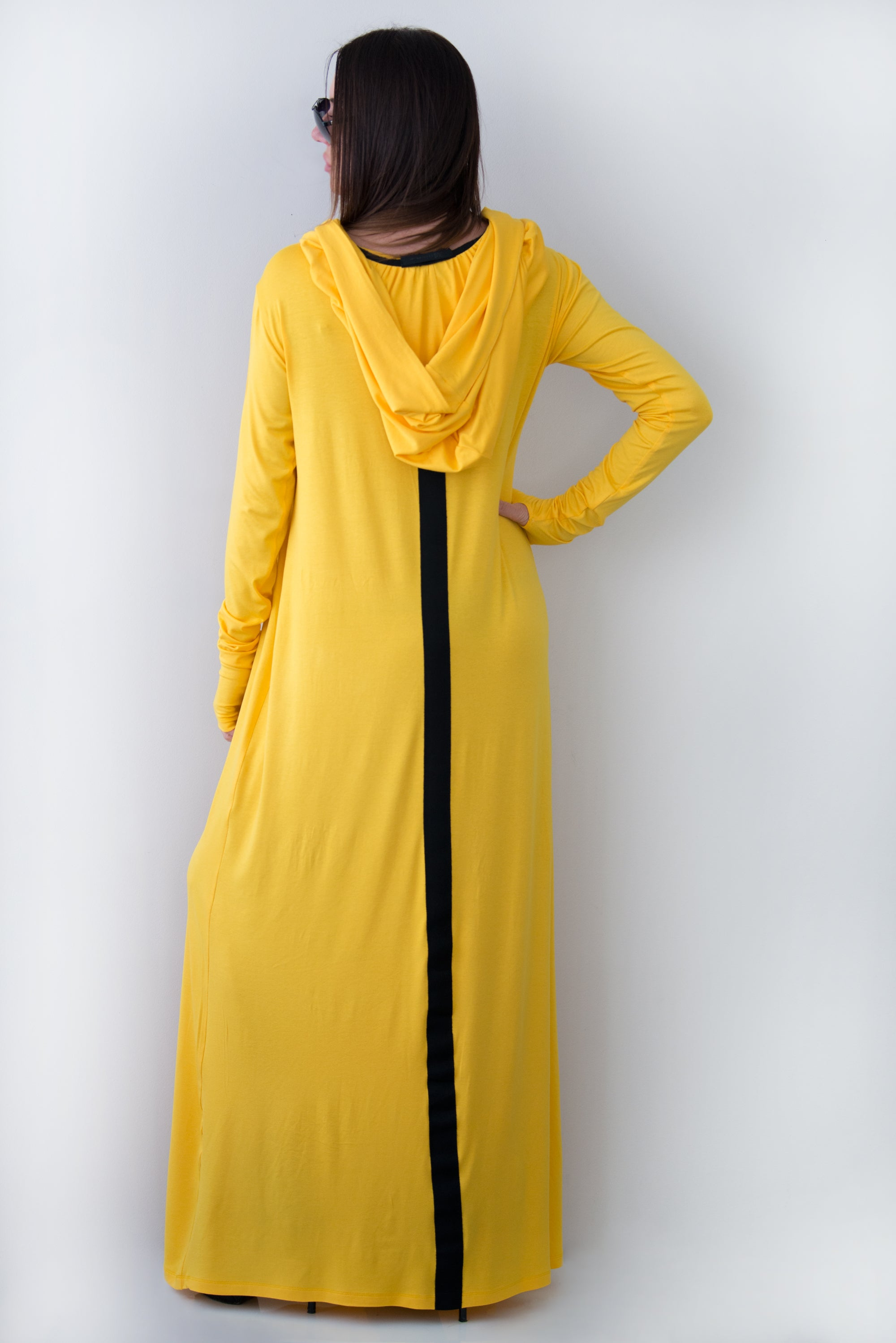 Yellow Hooded Long Dress, Dresses Spring & Summer