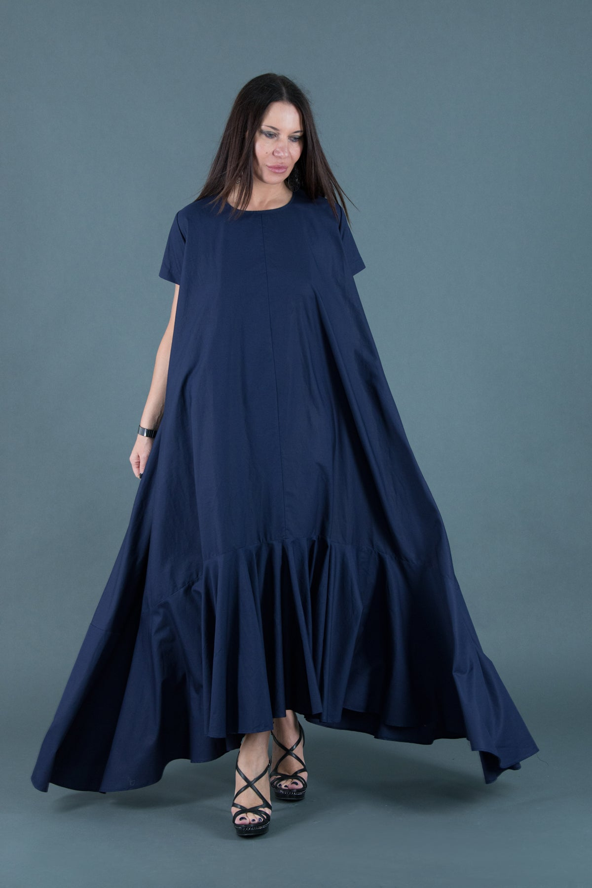 Dark Blue Cotton Dress, Summer Flounces Dress, Cotton Party Dress