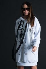Sweatshirt White Dress with print, Hoodies & Sweaters