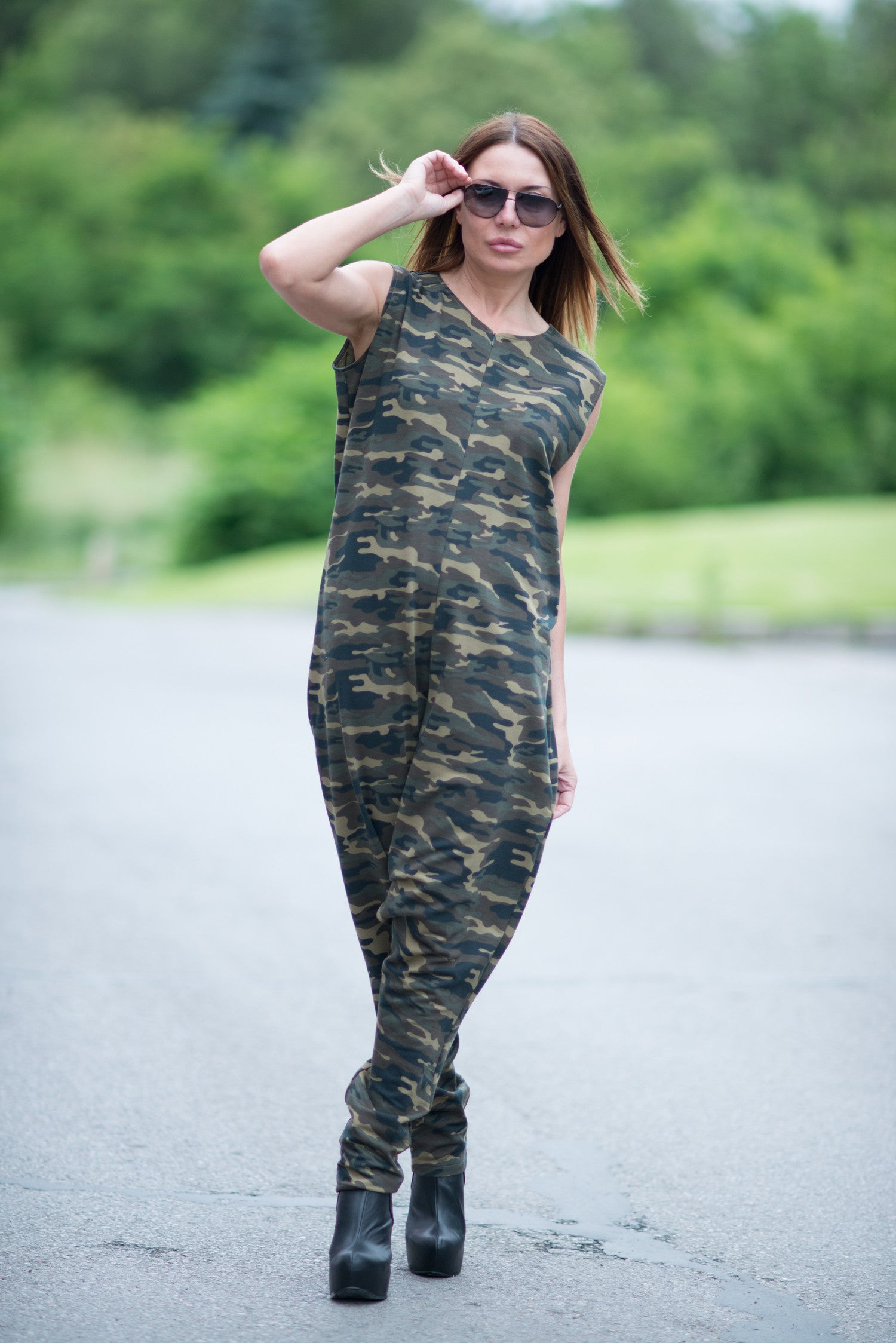 Camouflage Harem Jumpsuit, Drop Crotch Rompers, Jumpsuits & Rompers