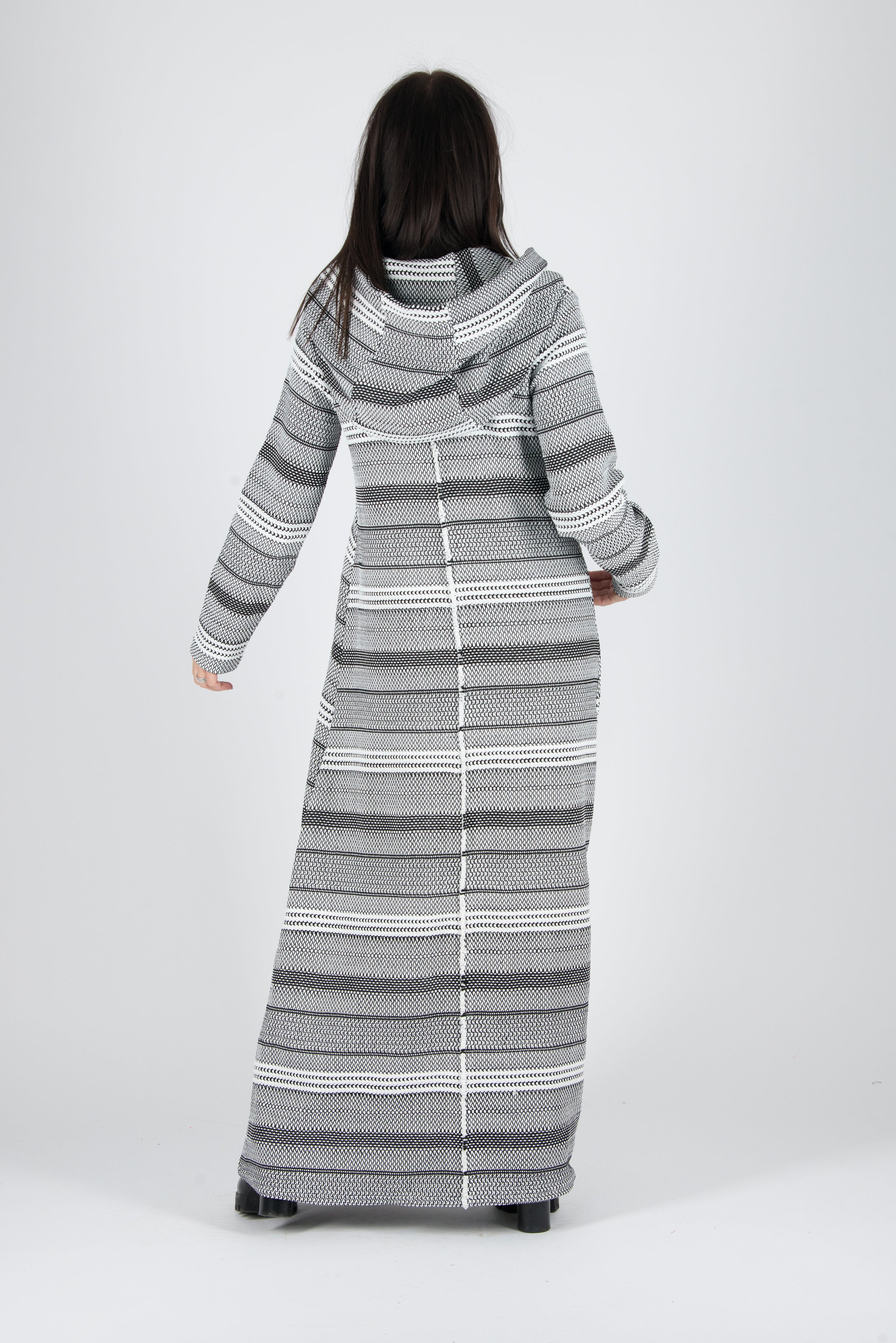 Spring Long Hooded Plus size Black and White dress, New Arrival