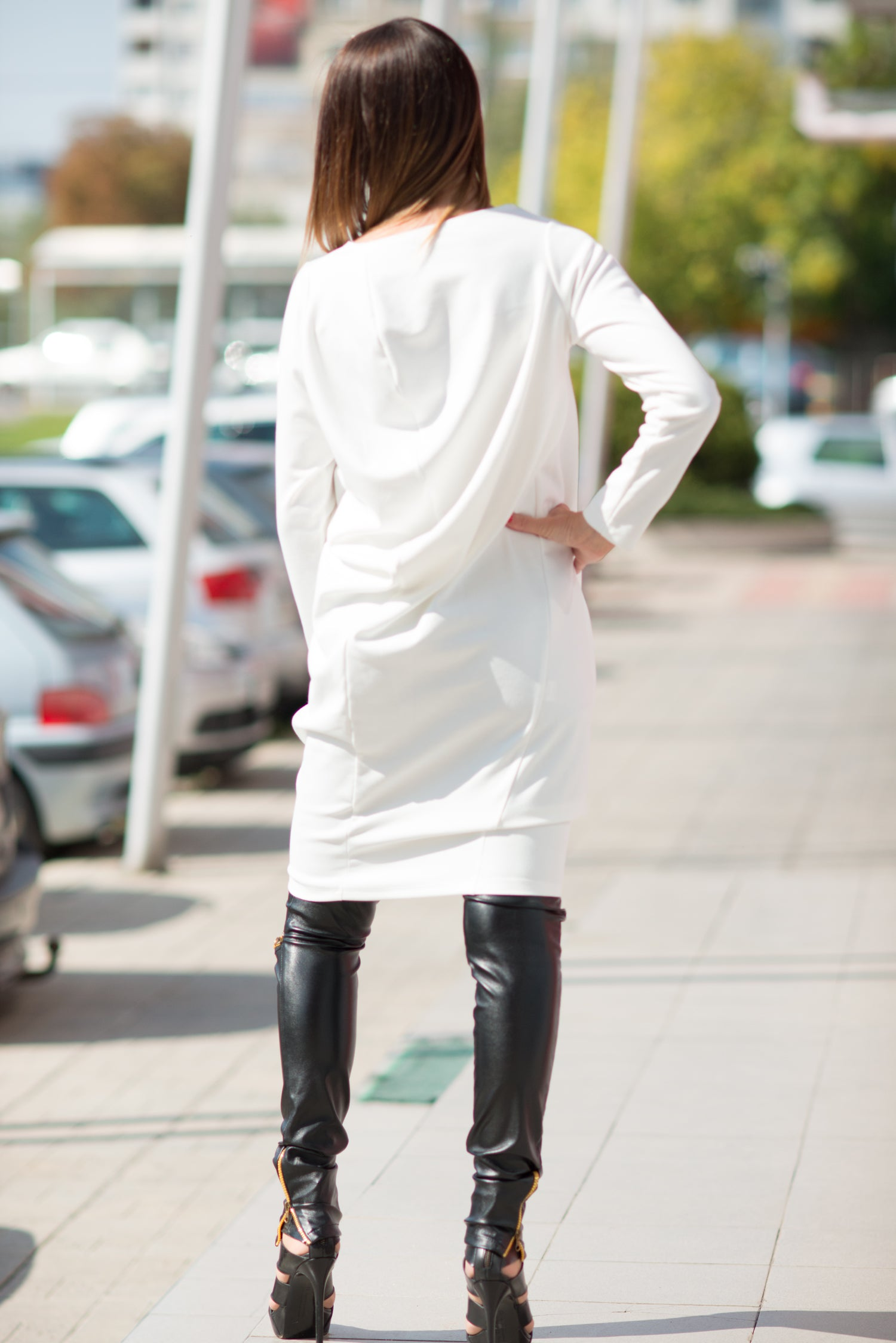 White Cotton Tunic Long Sleeves, Maxi Tunic Top, Loose Cotton Winter Tunic