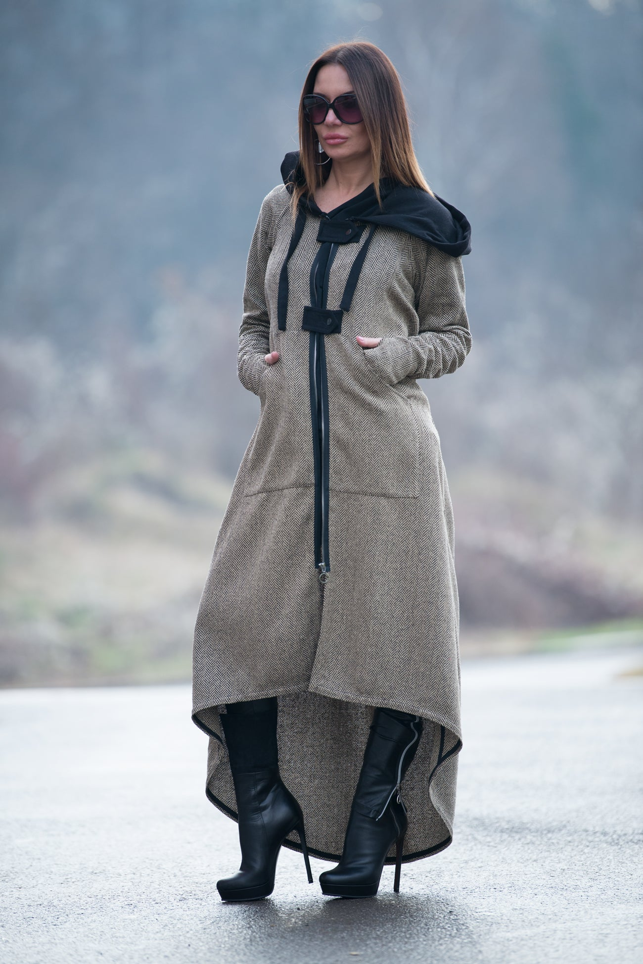 Autumn Wool hooded vest, Long hooded women vest