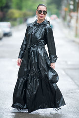 Long Zipper Hooded Vest, Black Raincoat