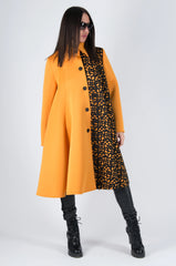 Orange Black Woman Neoprene Blazer Coat, Coats