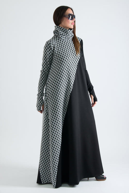Black and White Turtleneck Long Maxi Dress - EUG FASHION