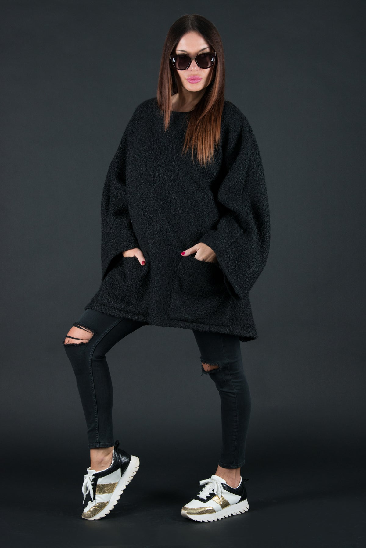 Wool Black Plus Size Winter Poncho, Tops & Tunics
