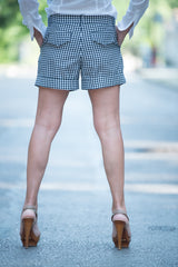 Black and White Plaid Cotton Shorts, Pants & Leggings