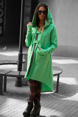 Green Cashmere Long Zipper Hooded Vest, Cardigans & Vests