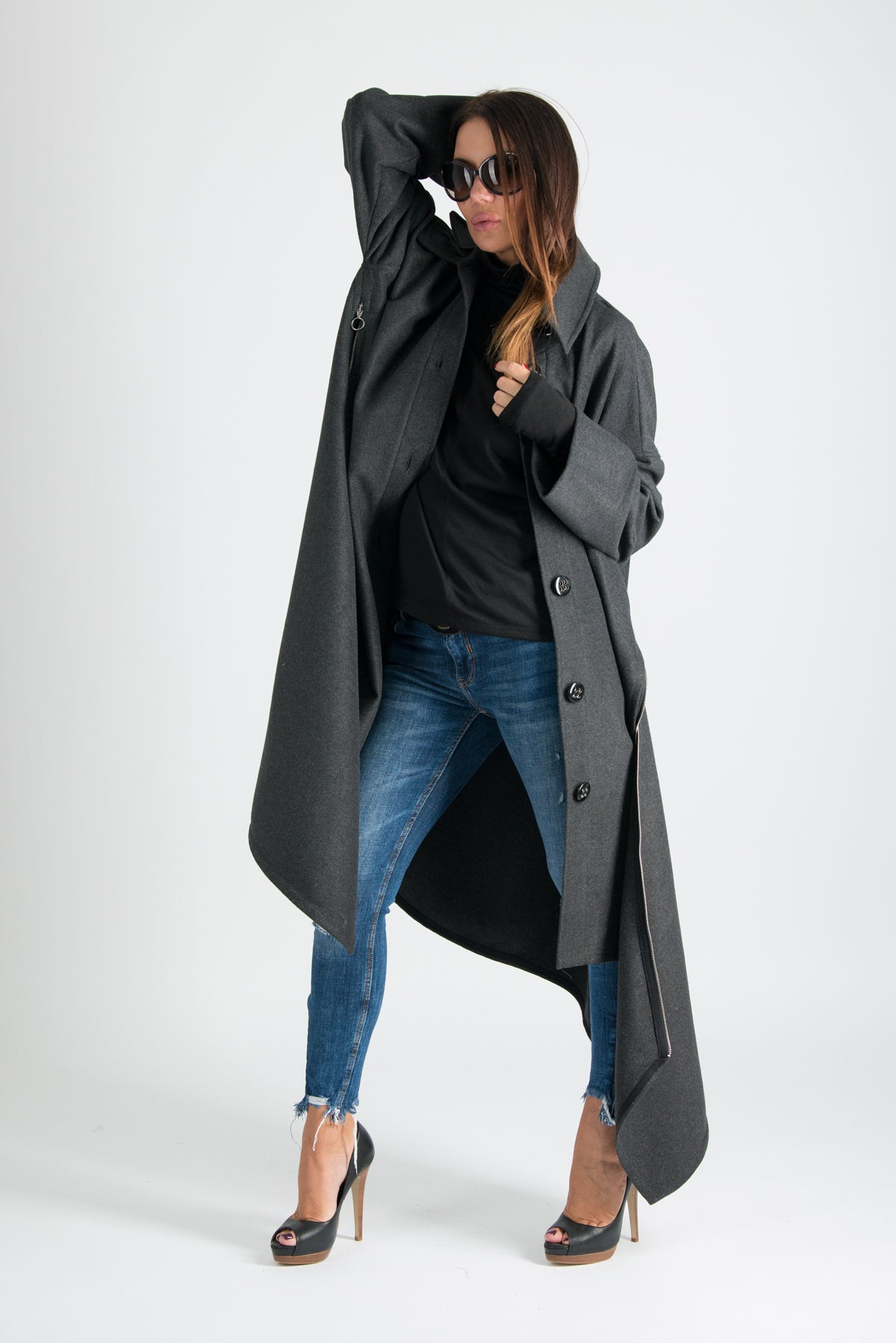 Dark grey Winter women Coat, Cashmere Coat