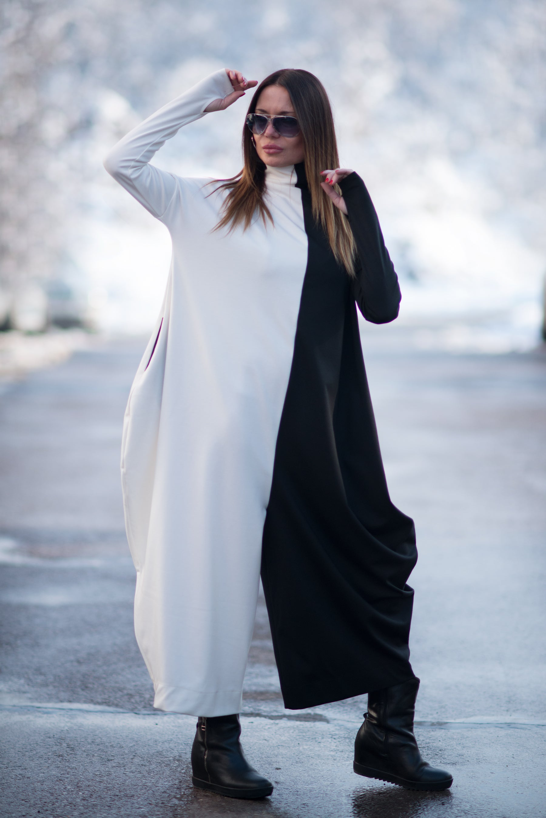 Turtleneck Woman Jumpsuit, Plus Size Jumpsuit, Winter Drop Crotch Jumpsuit
