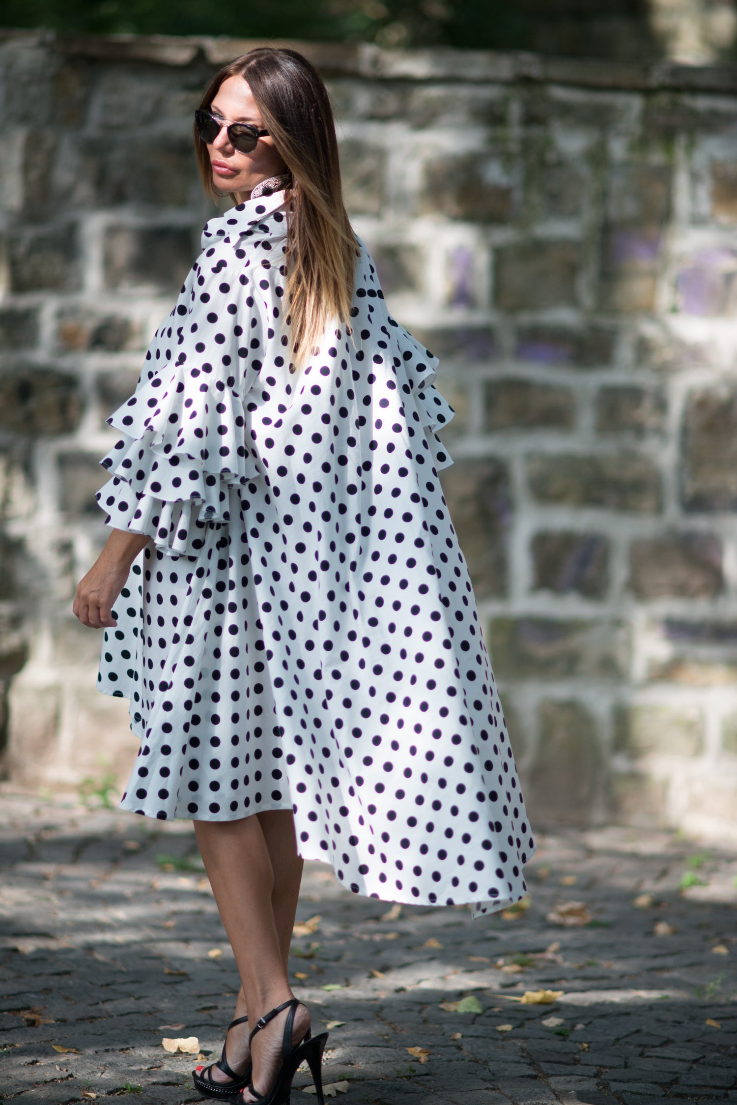 Polka dots maxi summer dress, Cotton party dress with flounces sleeves, Plus size dress