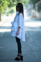 White Cotton Flounces Loose Shirt, Summer Flounces Top