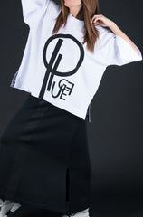 White Woman printed tshirt with EUG Brand Logo - EUG FASHION