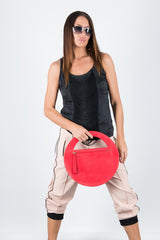 Red Genuine Leather Clutch Hand Bag, Evening Leather Bag
