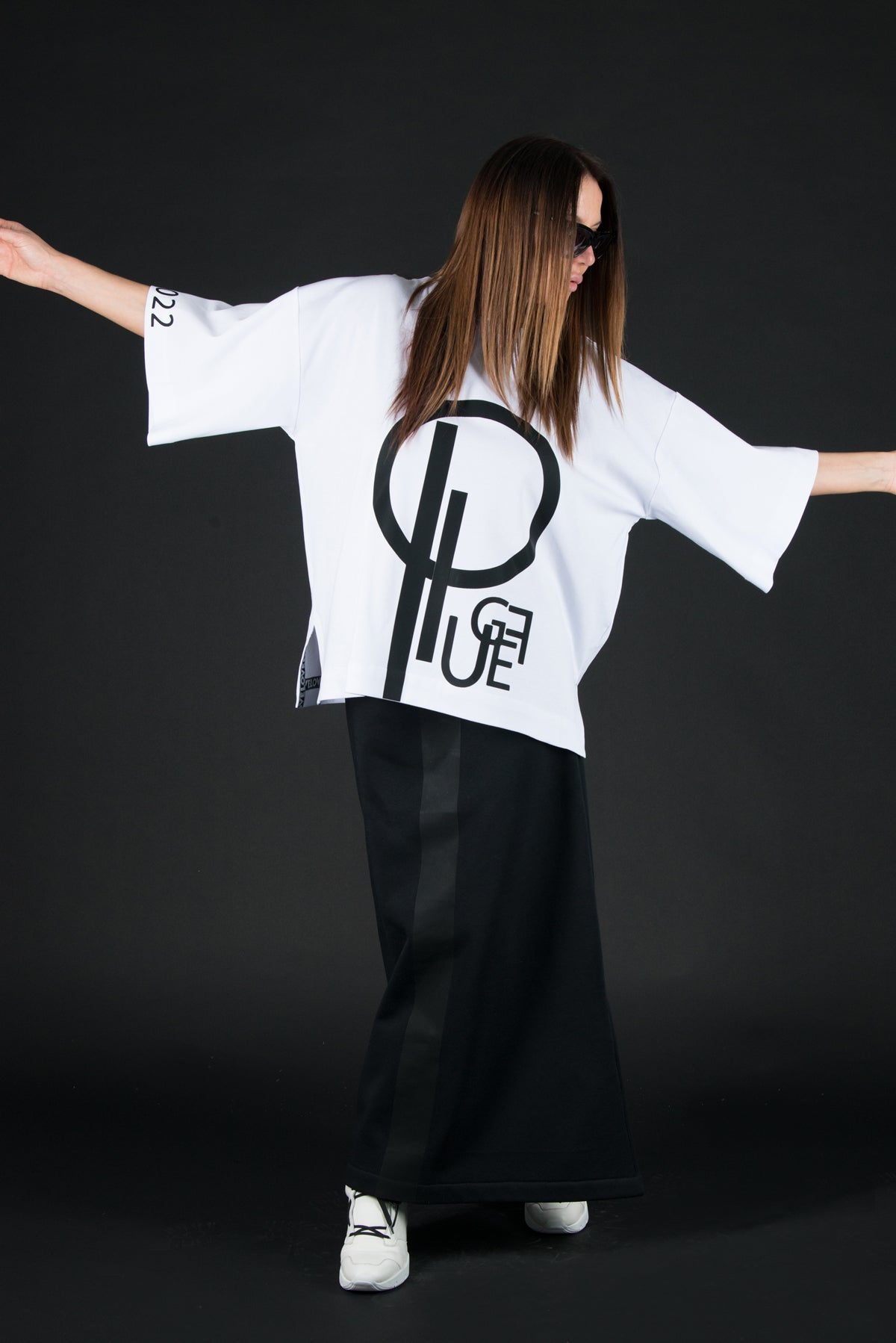 White Woman printed tshirt with EUG Brand Logo, Tops & Tunics