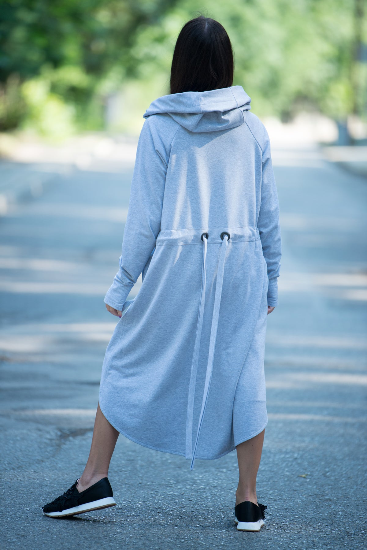 Long Grey hooded sweatshirts - EUG FASHION