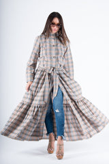 Beige Plaid Long Caftan, Abaya Maxi Dress - EUG FASHION