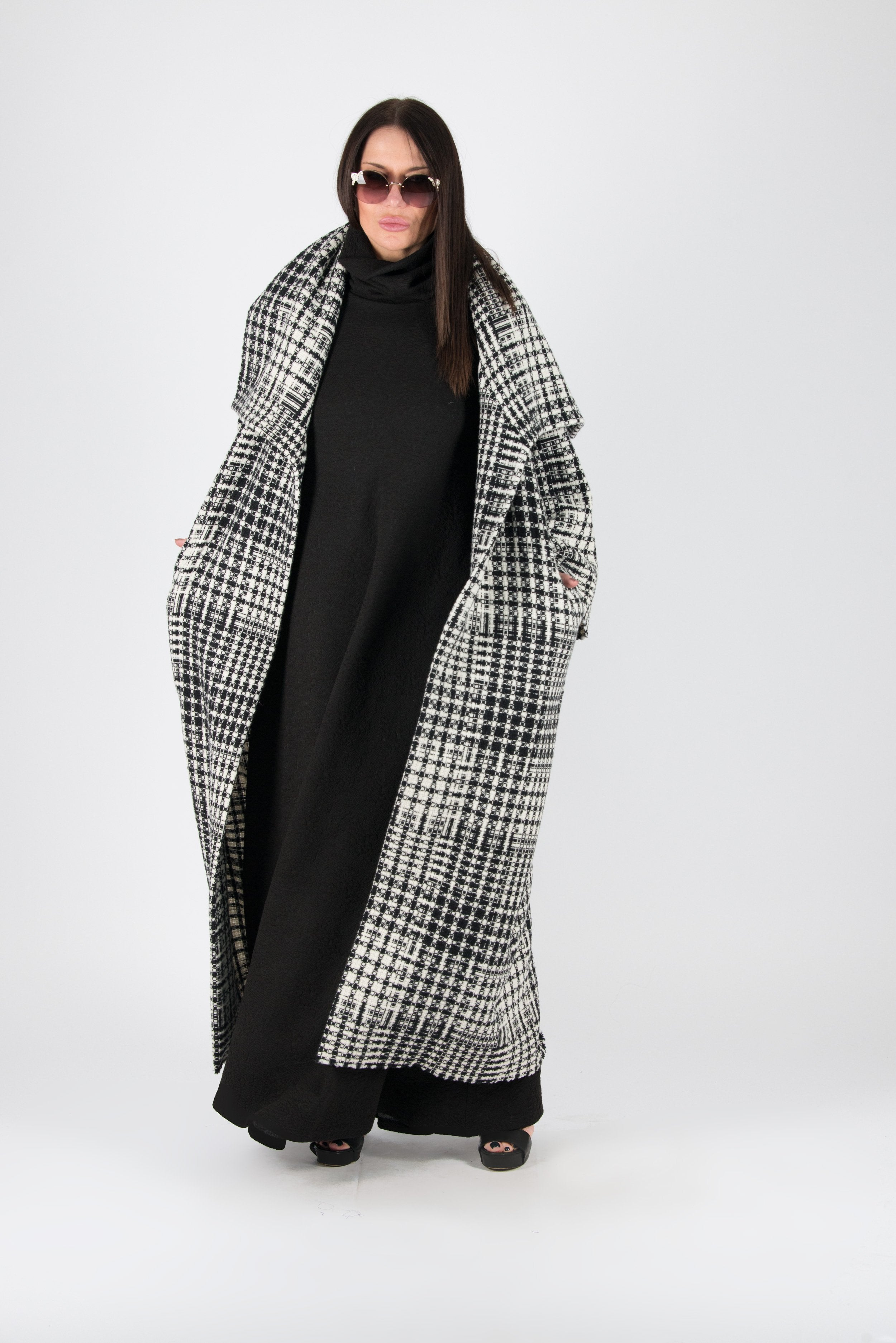 White Shepherds Plaid Wool Winter Coat, Coats