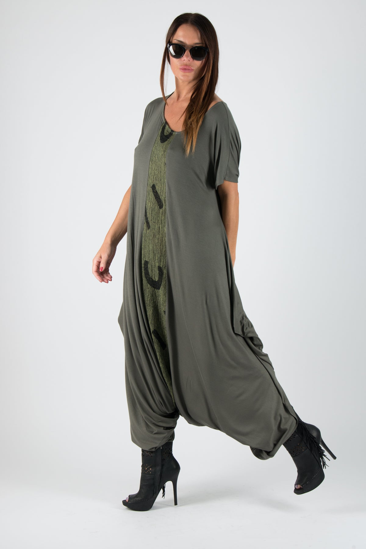 Military Green Women's Jumpsuit, Union suit, Drop Crotch Jumpsuit