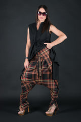 Brown Check Drop Crotch Harem Pants, Pants & Leggings