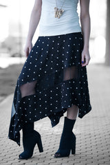 Black Cotton Viscous Summer Skirt, Elegant long skirt