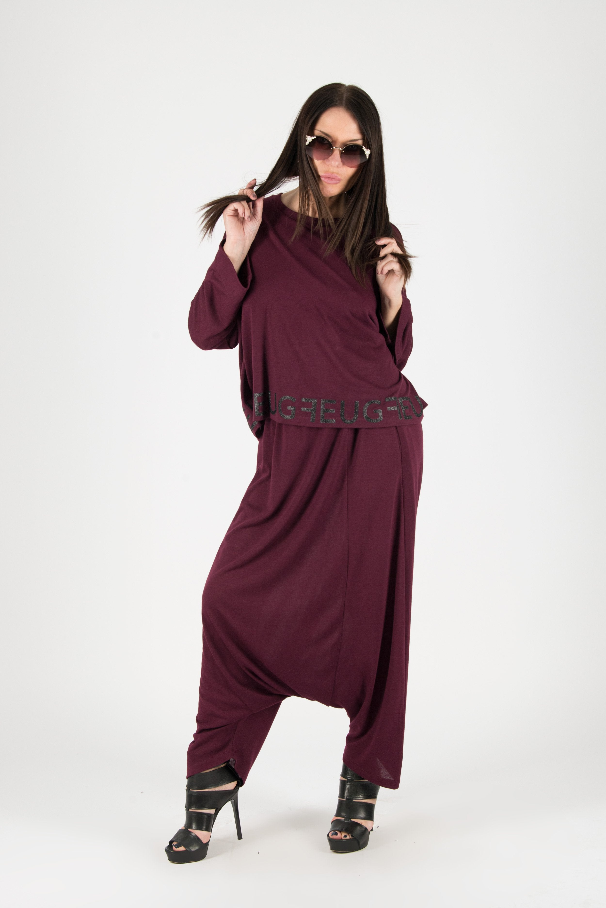 Dark Red Two pieces Knitting Harem Outfit, New Arrival