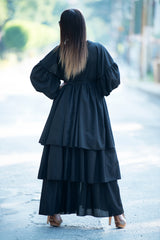 Flounces Black Cotton Abaya Loose Maxi Dress, Kaftans Clothing
