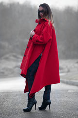 Red Cashmere Women Coat, Trendy Autumn Winter Coat