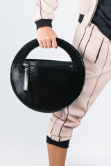 Black Shine Genuine Leather Clutch Hand Bag, Evening Leather Bag