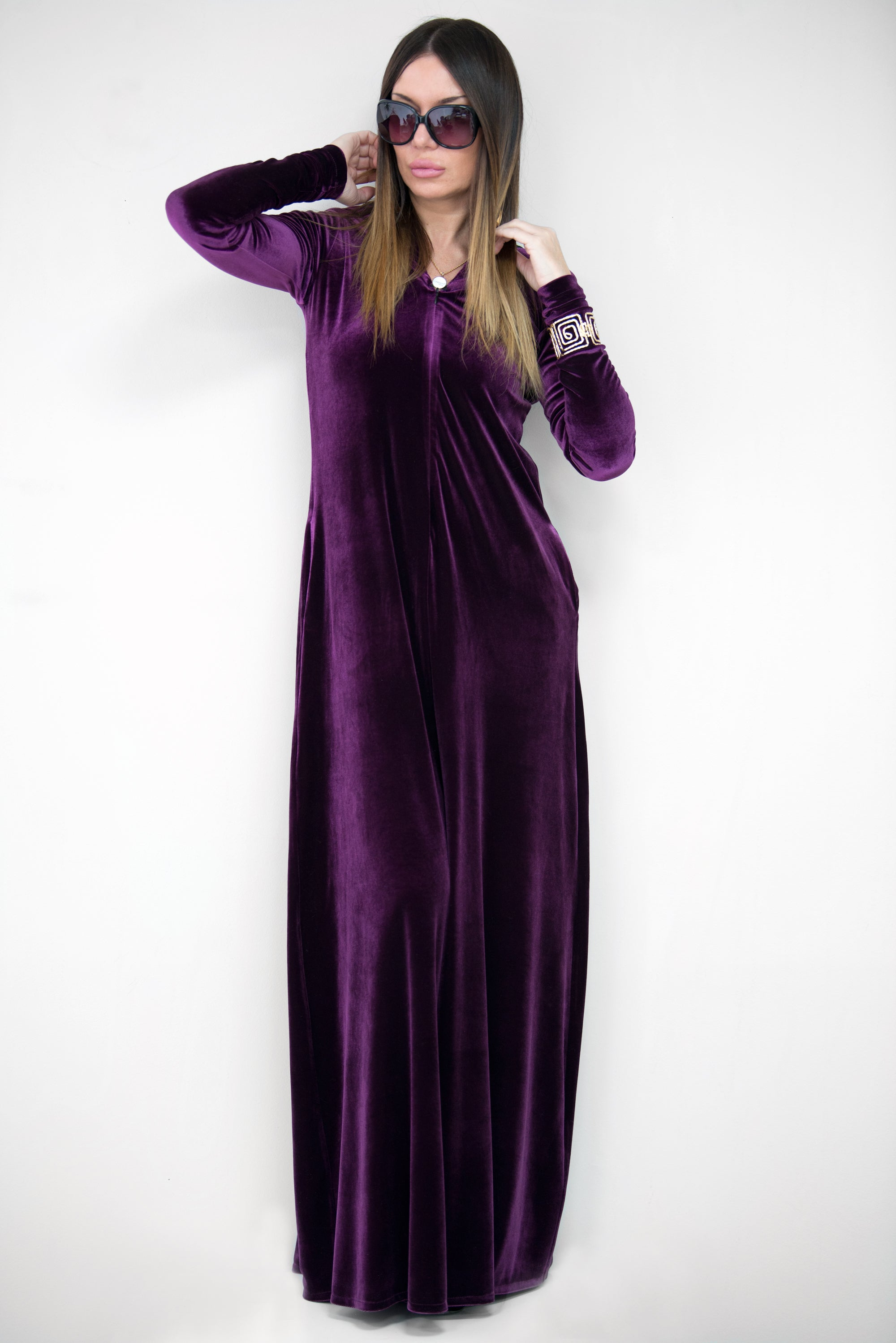 Purple Velvet Hooded Jumpsuit, Jumpsuits & Rompers