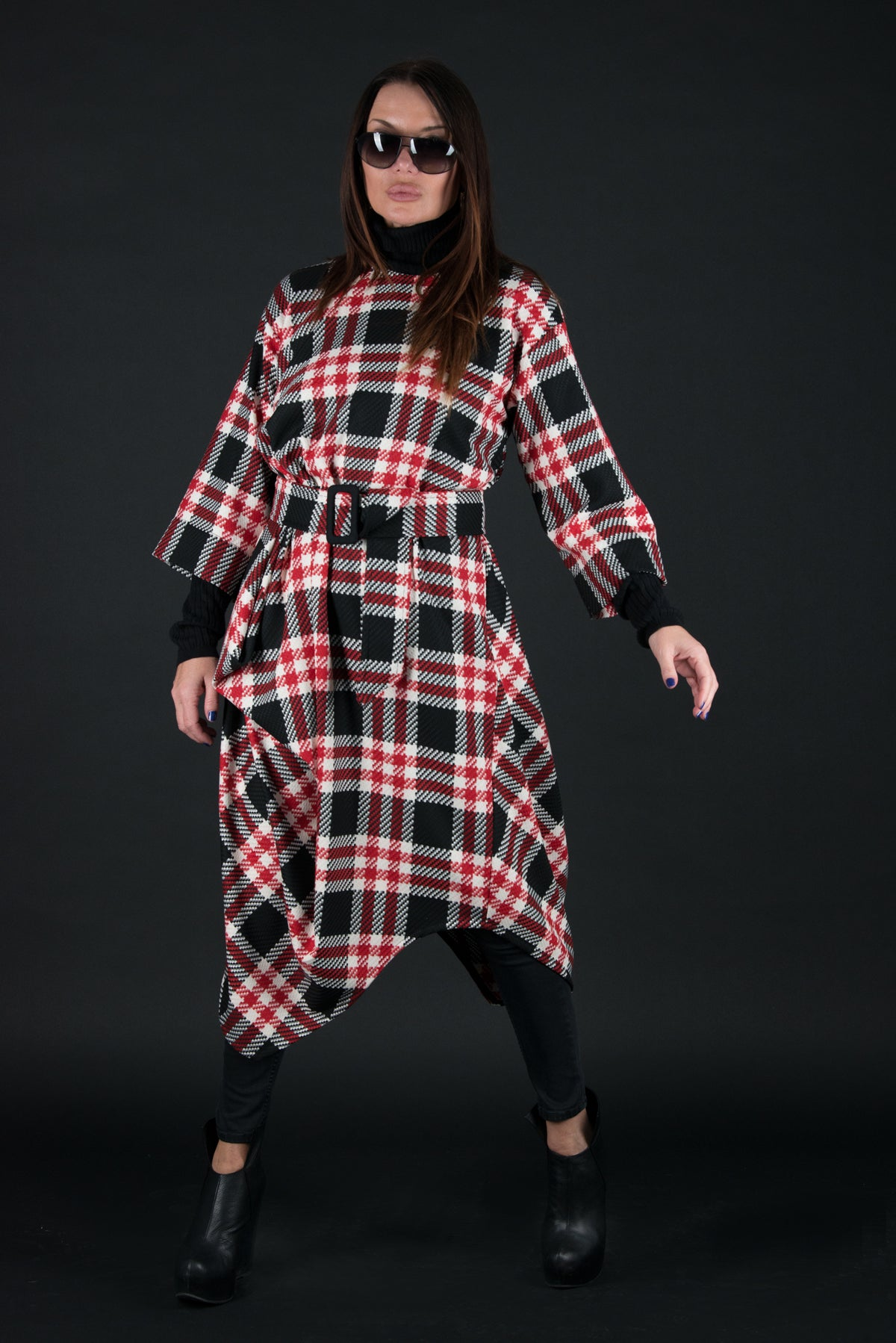 Autumn Winter Red Check Wool Dress, Dresses & Maxi Dresses
