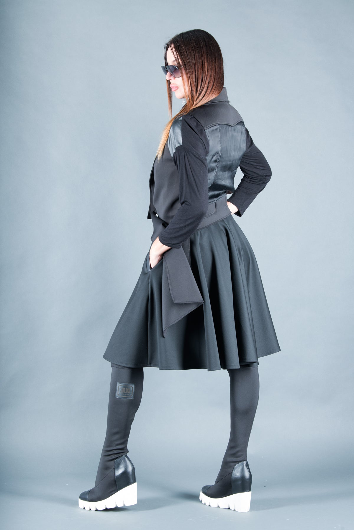 Black Neoprene knee length Skirt, Skirts